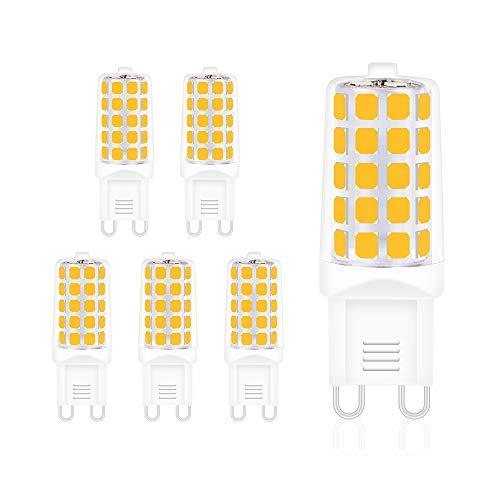 G9 Lampadina LED,4W Equivalente a 40W Lampada Alogena Bianco Caldo,450lm,2700K,Risparmio Energetico Lampadine,Confezione da 5 [Classe di efficienza energetica A++] ... (bianco caldo)