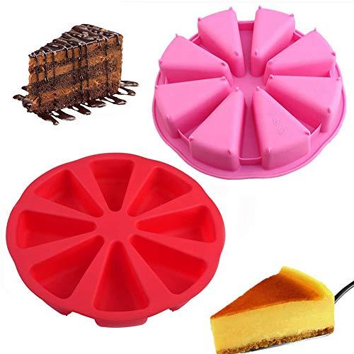 Genrics 2PCS Moule à gâteau Triangleen Silicone, Moule à gâteaux en Silicone 8 Trous Creux Rond avec 8 Compartiments triangulaires, Plateau à Pizza Accessoires de Cuisson pour Cuisine