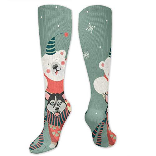 Girls Socks Over Knee Husky Dog Blue Eyes Winter Custom Personalized For Party