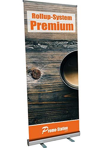 Roll Up Premium 85x200cm | Rollup Display ohne Banner, ohne Druck | einseitiges Alu Roll-Up, Silber eloxiert | inkl. Tragetasche | Rollup Banner Bannerdisplay Werbebanner Aufsteller für Werbung (85cm)