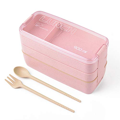 Hivexagon Bento Box Lunchbox Boîte-Repas pour Enfants et Adultes, 3-en-1 Compartiments avec Couverts, Ecologique en Fibre de blé Biodégradable Bento