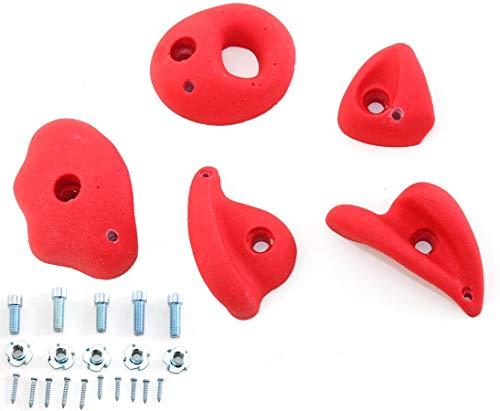 bambus-discount.com Klettersteine rot, 5er Set mit Schrauben für Spielturm - Kinderspielgeräte für Garten, Spielgeräte für Kinder, Spielturm, Spieltürme