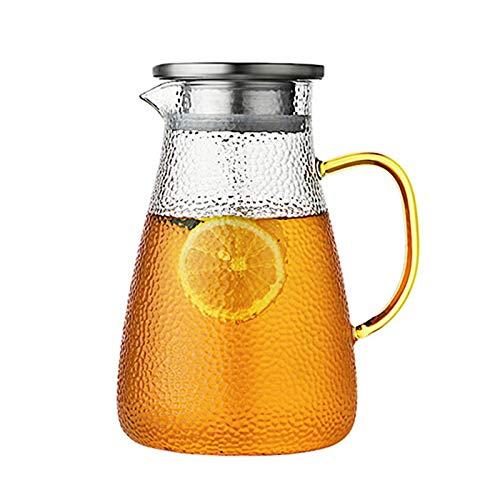 QUYUAN Jarras de Cristal, 1500ml Borosilicato Jarras para Agua con Tapa de Acero Inoxidable Botella de Cristal con Patrón Jarras de Vidrio para Bebida Caliente Fría