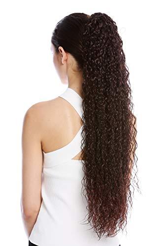 WIG ME UP - N857-V-2T33 extensión de pelo coleta más larga voluminosa rizada rizos crespos afro kinks color castaño caoba teñido 75 cm