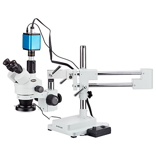 AmScope 3.5X-45X Trinocular Stereo Zoom Microscope with Double Arm Boom Stand + 144-LED Ring-Light + 1080p Camera