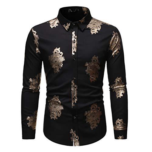 JiaMeng Persönlichkeit Heißprägen Gedruckt Hemd Revers Langarmshirts Freizeit Arbeitshemd für Herren Herbst Winter Shirt Tops