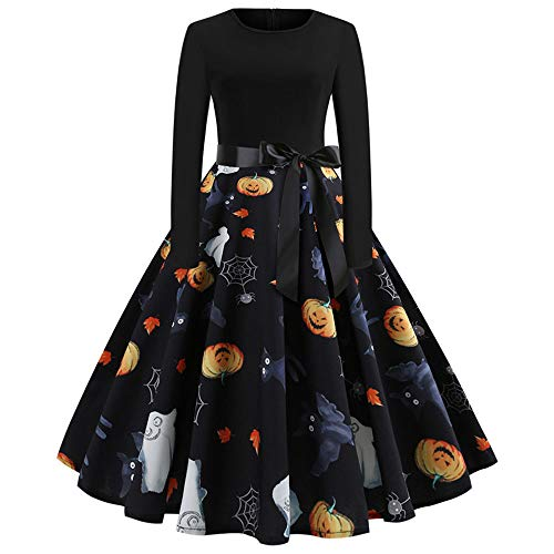 TWIFE Herbst Halloween Damen Langarm O Hals Druck Winter Vintage Kleid Partykleid