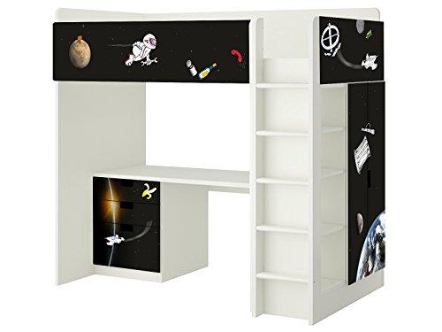 Weltall Aufkleber - SH12 - passend für die Kinderzimmer Hochbett-Kombination STUVA von IKEA - Bestehend aus Hochbett, Kommode (3 Fächer), Kleiderschrank und Schreibtisch - Möbel Nicht Inklusive | STIKKIPIX