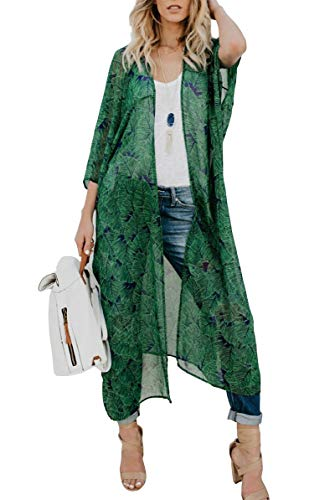 Walant Cardigan de Plage Femmes Grand Châle Gilets Plage Longue Kimono Bikini Cover Up Tunique en Mousseline de Soie Casual Floral Light Airy Beachwear Cardigan, Vert, Taille unique