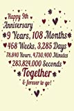 9 Years Of Marriage/happy anniversary: 9th Wedding Anniversary Celebrating, Marriage Anniversary Notebook Journal, Married for 9 Years Wedding duo diary, Sweet Memories Notebook Card Alternative