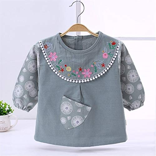 FeiFei156 3-35 Mois Coton bébé Bib Blouse Enfant Bavoirs imperméables à Manches Longues Chemise Bavoirs (Color : Green, Size : S)