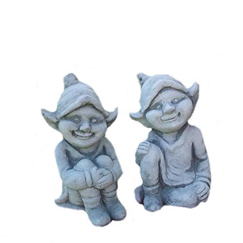 Steinfigur Elfe/Fee 2er Set Elfenfigur Elfenjunge Troll Gartenfigur Steinguss