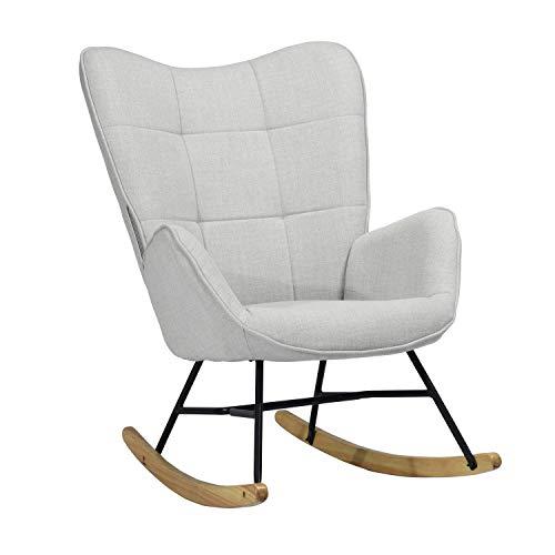 MEUBLE COSY Sillón Mecedora Moderna Sillas Relax De Salón Dormitorio Comedor, Tela, Gris, 69x84x97 cm