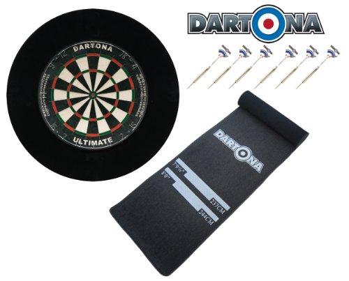 Dartona Dartset Ultimate Pro - Board + Pfeile + Soft-Feel Dartmatte + Surround in Schwarz