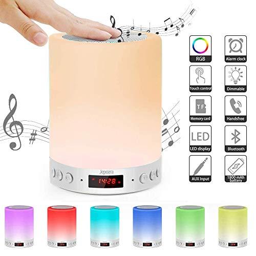 Lámpara de Noche LED,Lámpara de mesa con altavoz Bluetooth,Lámpara de Mesa Noche con Control Táctil,Brillo ajustable,USB Rechargable,Soporte para Bluetooth Reproductor de MP3,Bedroom(Warm White)