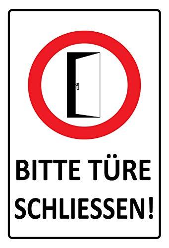 FS waarschuwingsbord Gelieve de deur te sluiten! Wit blikken bord bordje gewelfd Metal Sign 20 x 30 cm