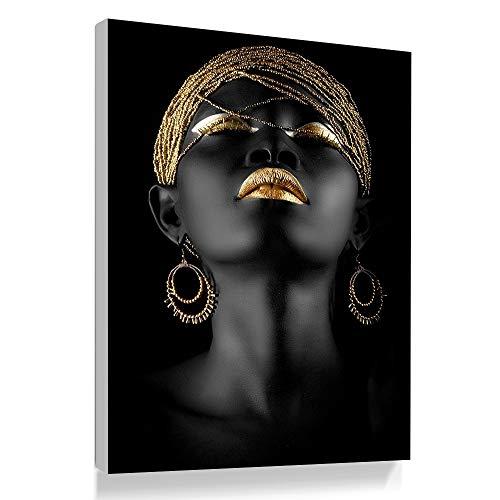 Bilder Auf Leinwand,'S Fashion Schwarze Frauen Gold Ornamente Dekoration Leinwand Gemälde Kunstdruck Poster Bild Wand Schlafzimmer Wohnzimmer Dekoration Malerei Wandbild(1), 70 * 100