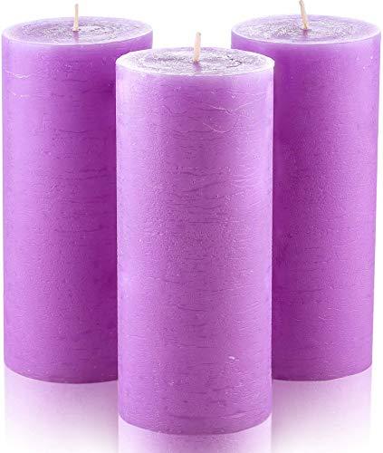 Juego de 3 velas pilar en lila sin fragancia, de 7,5 x 15 cm ideal para bodas, restaurantes, decoración del hogar, balnearios, iglesias, con mecha de algodón sin humo por Melt Candle Company