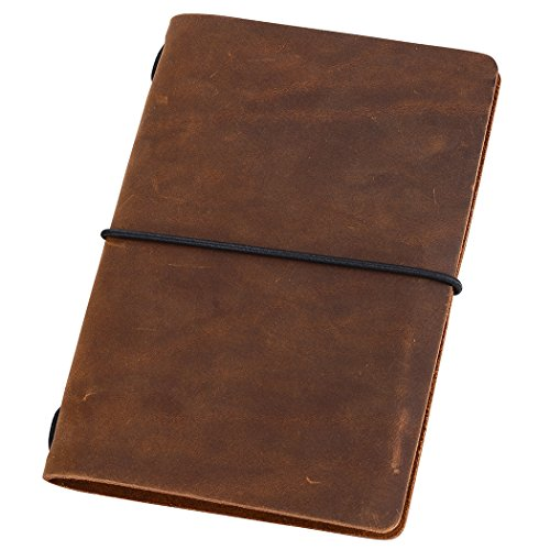 Pocket Travelers Notebook, Refillable Leather Travel Journal for Men &...