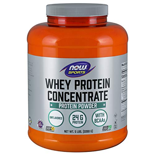 NOW Sports Nutrition, Whey Protein Concentrate Powder, Unflavored, 5-Pound