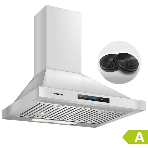 AMZCHEF Campana extractora 60cm Armario de aire de circulación escape Cubierta de armario filtro carbón activado LED de acero inoxidable de 3 niveles (Silver)