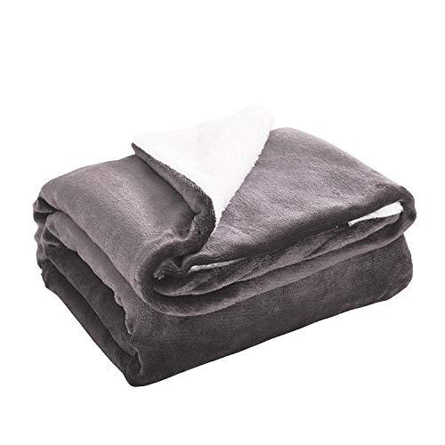 "Lunmous Sherpa Fleece Blanket Throw Fuzzy Soft Reversible Ultra Luxurious Blanket Microfiber (Gray, 60""x80"")"