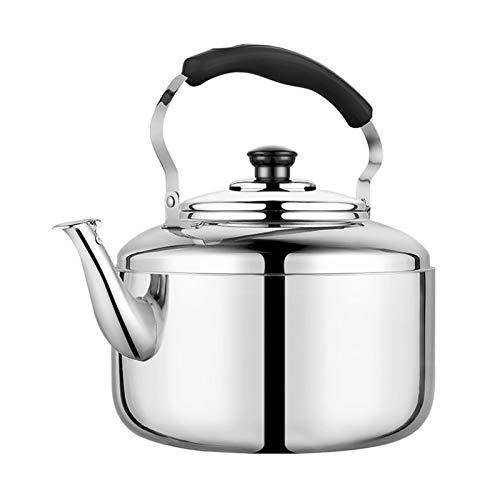 Oven Tetera de té para Estufa de Acero Inoxidable Superior, Tetera Ergonómica del Silbato, Adecuado para El Restaurante de Cocina Familiar (Color : Silver, tamaño : 5L)