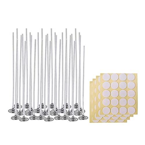 XIAOFANG 100 stücke Natürliche Kerze Wicks & 100 stücke Kerze Dökchen Aufkleber & 1 stücke Kerze Docht Centering Gerät, Niedrige Rauch Natürliche Baumwolle E56C