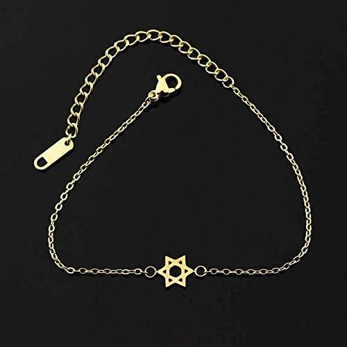 BEISUOSIBYW Co.,Ltd Collar Regalos Moda Cadena de Acero Inoxidable Jerusalem Magen Estrella de David Charm Bracelet Femme Joyería judía 21Cm