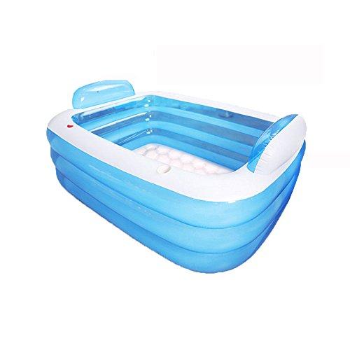 Review MBJZ Adult bath tub plastic bucket folding inflatable bath bucket, blue,21015060cm