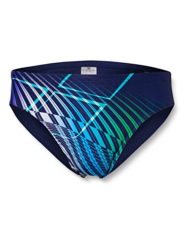 ARENA Herren Slip Badehose Optical Waves, Navy-Multi, 9