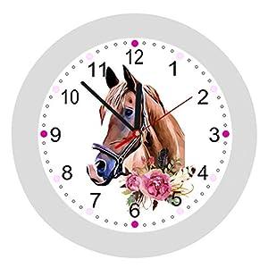 ✿ Wanduhr in 4 Farben ✿ PFERDE Horses 5 ✿ Kinderwanduhr ✿ KEIN TICKEN ✿ mit/ohne Name