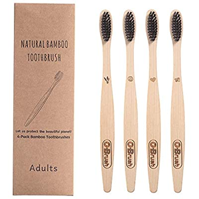 OBrush Biodegradable Charcoal Medium Bristles Bamboo Toothbrush Compostable Eco Vegan Toothbrush Protect The Earth Pack of 4pcs