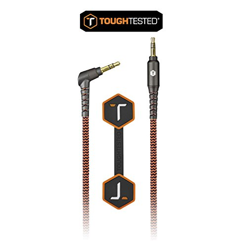 3.5mm Audio-to-3.5mm Audio Tough Tested TT-FC6-AUX 6-Feet Durable Braided Auxiliary Cable - Retail Packaging Black//Orange