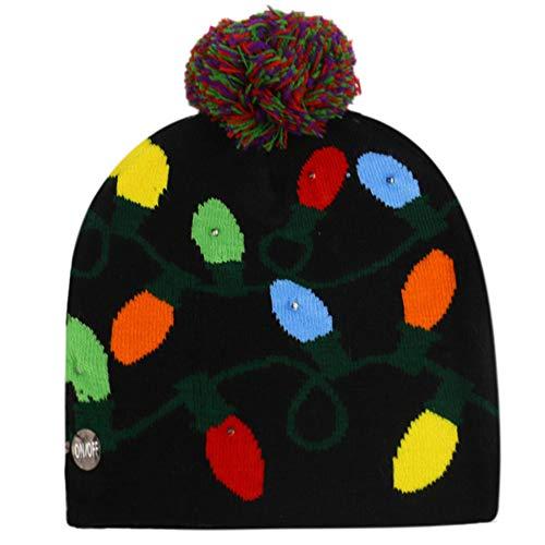 Dihope, Light Up, unisex kerstmuts, led, gebreide muts, rendier, kerstboom, met grote pompon, winter, voor feestjes