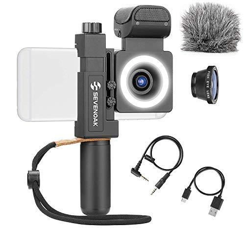 Movo SmartCine Complete Smartphone Video Rig with Built-in Stereo Microphone, LED Light, Wide-Angle and Fisheye Lenses - Youtuber Kit Compatible with iPhone/Android Phones - YouTube, Tik Tok Equipment