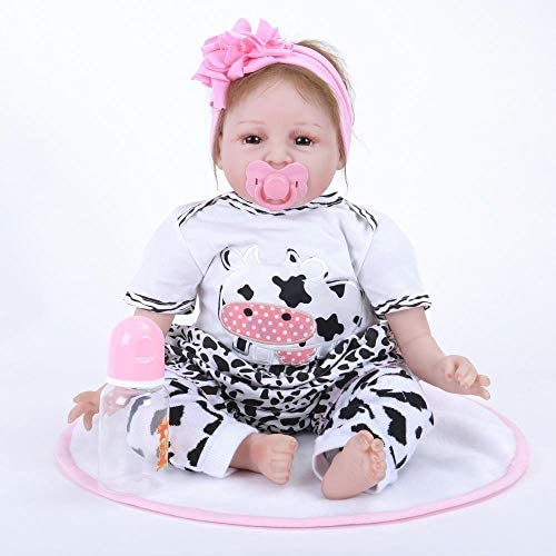 Hongge Reborn Baby Doll,22 Zoll Reborn Babypuppe lebensecht lebendig mädchenpuppe realistische übernatürliche Puppe mit sch n Kleid für Silvester Xmas Gifts
