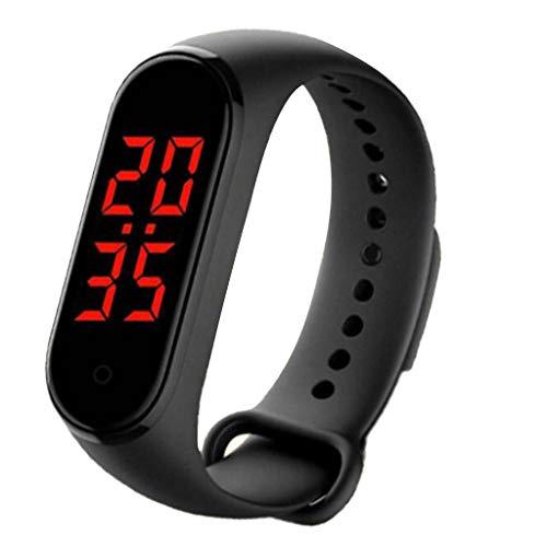 freneci Reloj Deportivo con Pulsera Inteligente, Visualización de Tiempo en Pantalla LED, Pulsera con Control de Temperatura