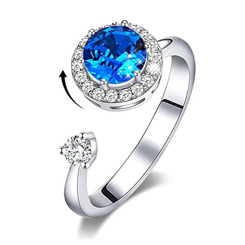 Birthstone Rings for Girls Womens Birthday Christmas Thanksgiving Gifts Embellished with Crystals from Ocean Ring 18K White Gold Plated Ring for Mom Wife (Blue Crystal Ring)