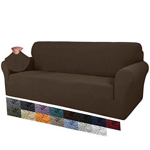 MAXIJIN Fodere per divano jacquard creative per 3 posti, 1 pezzo copridivano antiscivolo super elasticizzato per cani copridivano elastico (3 Posti, Caffè Scuro)