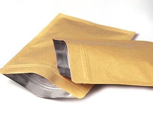 Evergreen Goods Bolsas de papel de estraza reutilizables, forradas con cremallera, con...