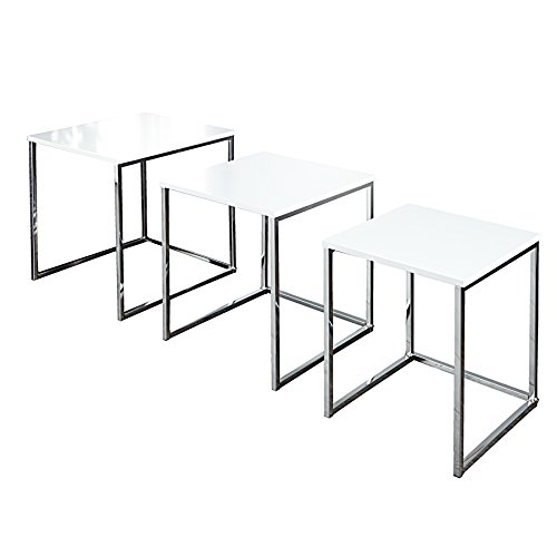 Design Beistelltisch 3er Set ELEMENTS 40cm Hochglanz weiß chrom Satztische Wohnzimmertische Tischset Tische