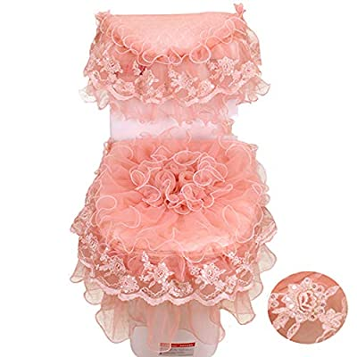 Toilet Seat Cover Three-Piece U Shaped Toilet Seat Cover Lid Cover Bathroom Tank Cover Set Mat Lace Spliced Washable Seat Padded Soft Thick Decoration,Pink