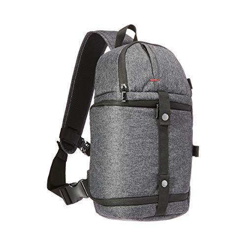 Amazon Basics – Kamera-Crossbag mit verstellbarem Trageriemen, wasserabweisender, dicht gewebter 840-D-Polyester, Aschgrau