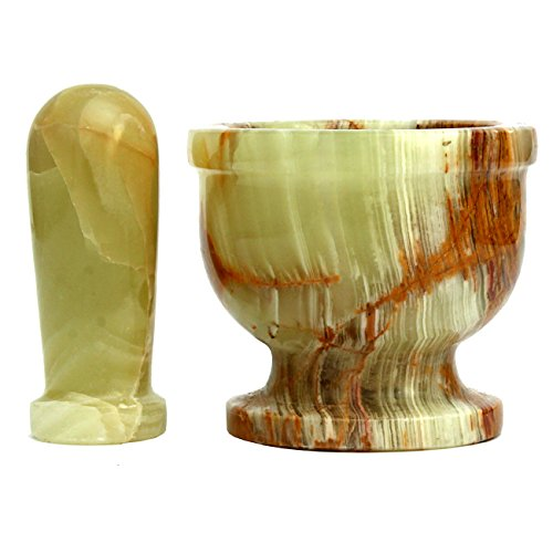 Multi Green Onyx Mortar amp Pestle  Excellent Gift Beautiful yet Sturdy for Tough Jobs  25quot
