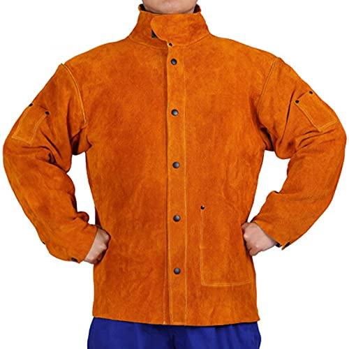 TXYJ Traje de soldadura de cuero, chaqueta eléctrica usable, costura de tela ignífuga de algodón, antiquemadura para soldador, electricista, portero, naranja, 3XL