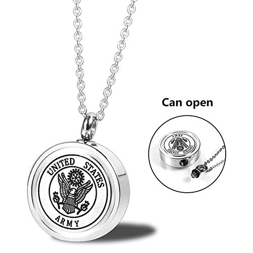 MEMORIALU Urn Ashes Necklace Stainless Steel Memorial Cremation Jewelry (ARMY)