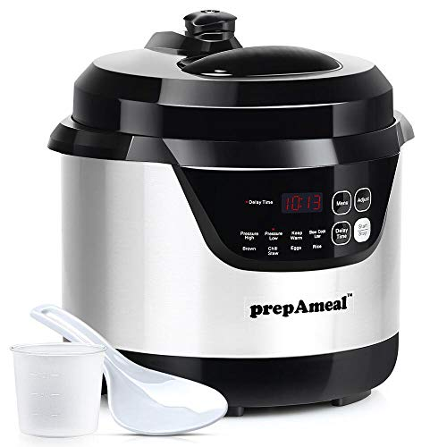 prepAmeal 3 Quart Pressure Cooker 8-IN-1 Multi-Use Programmable Instant Cooker Electric Pressure Pot with High & Low Pressure Cooker, Slow Cooker, Rice Cooker, Steamer, Sauté, Brown and Warmer