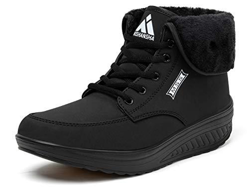 Mishansha Zapatillas cuña Mujer Botas de Nieve Mujer Gimnasio Aptitud Plataforma Zapatos de Trabajo Negro 40