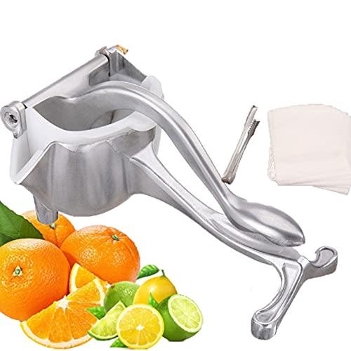 VNUWFM Manual Juicer Aluminum Alloy Citrus Squeezer Detachable PP Filter Lemon Squeezer with Food Tongs And Juice Bag Manual Lemon Squeezer Heavy Duty